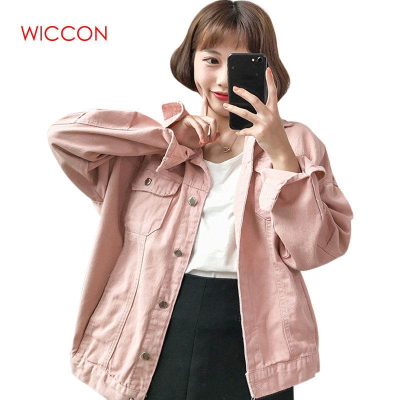 2019 Spring Autumn New Washed Denim Long Sleeve Lapel Denim   Jackets   Women Loose Casual Female's Thin   Basic     Jacket   Coats