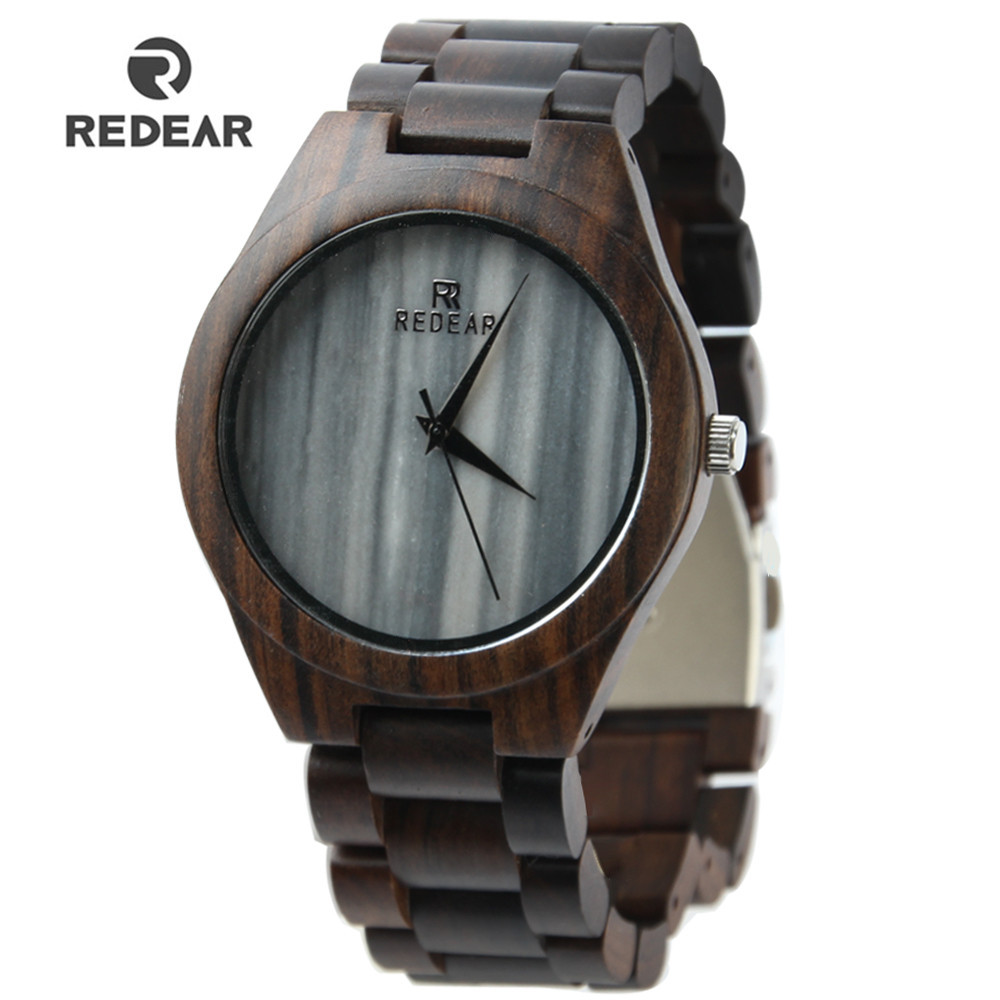 Dropshipping Fashion Ebony Wooden Watch 38mm Marble Dial Ladies Quartz Watch Wood Strap Men s and