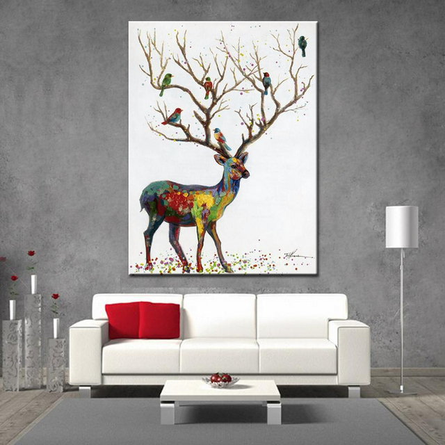 Noah Hand Painted Wall Art Decoration Picture Modern Abstract Animal Oil  Painting Deer Wall Art Canvas