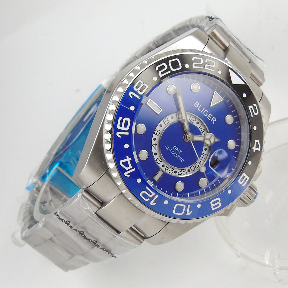 43mm Bliger blue dial Two Time Zone Display Fashion Sport Watch Men Waterproof Luminous Luxury Brand Watch43mm Bliger blue dial Two Time Zone Display Fashion Sport Watch Men Waterproof Luminous Luxury Brand Watch