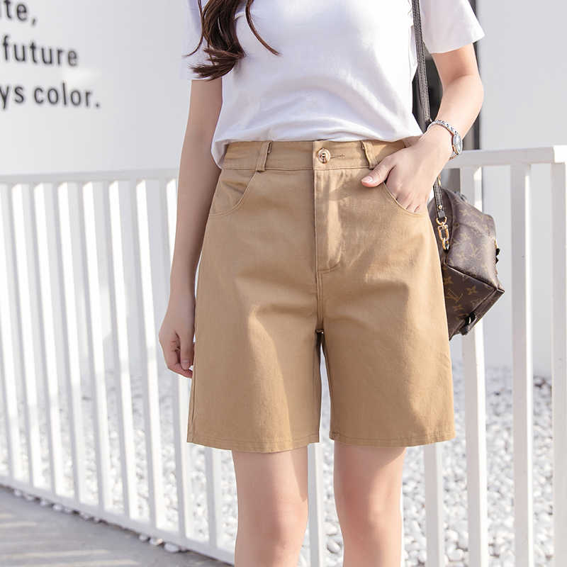 Hot Sale 2019 Women Shorts Solid Short Femme Pocket Cotton Linen Summer Shorts Casual Loose Candy Color Shorts Plus Size S-3XL