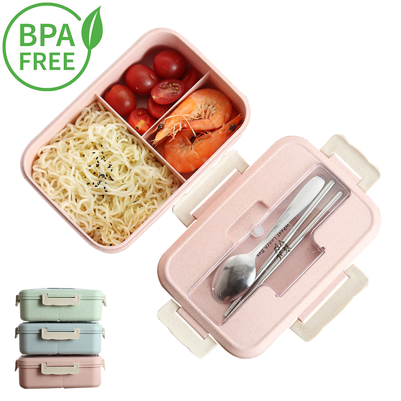 BPA Free Lunch Box Eco-friendly Material Wheat Straw Portable Microwaveble Bento Box Food Storage Container With Tableware