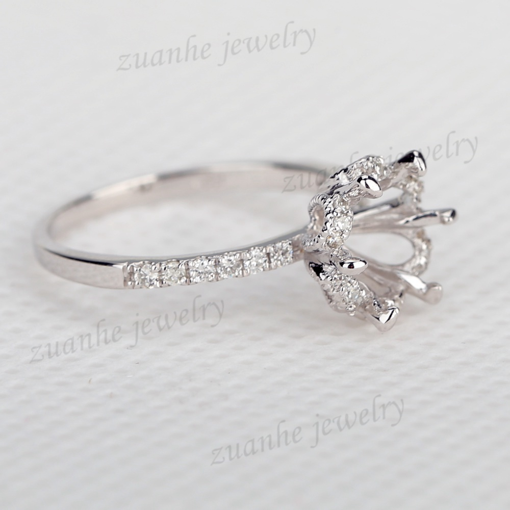 Solid 14k white gold SI/H natural diamonds 8mm round cut engagement semi mount ring
