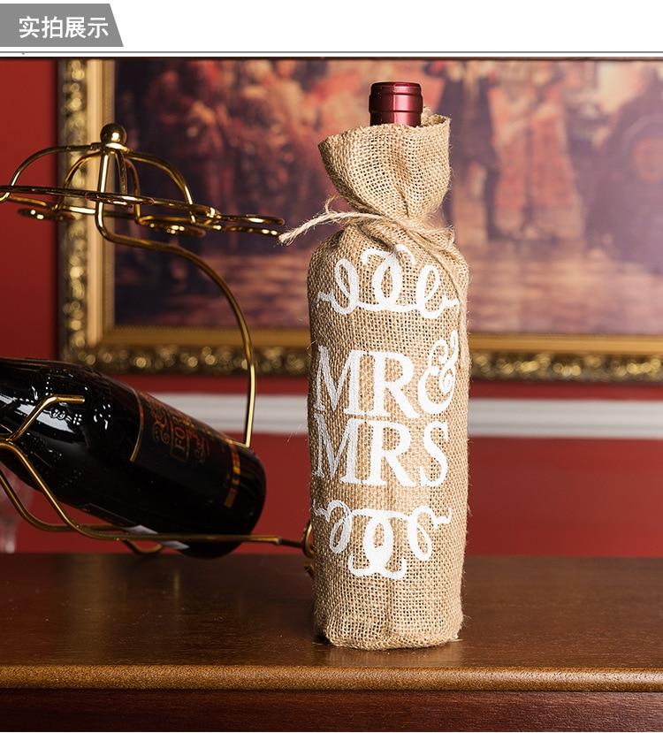 50pcs Lot MR MRS Burlap Jute Wine Bottle Bag Champagne Sleeve Holder Gifts Bags rustic vintage