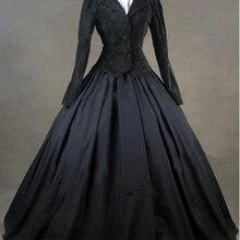 Черная куртка зимний Готический викторианский костюм платье Готический викторианский платье узоры