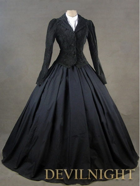 Black Jacket Winter Gothic Victorian Costume Dress Patterns In Dresses From Womens Clothing Accessories On Aliexpress