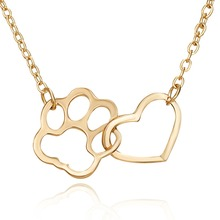 Cute Gold Silver Cat Dog Claw Heart Necklace For Women Girl Animal Pet Jewelry accessories Fashion Pendant Party