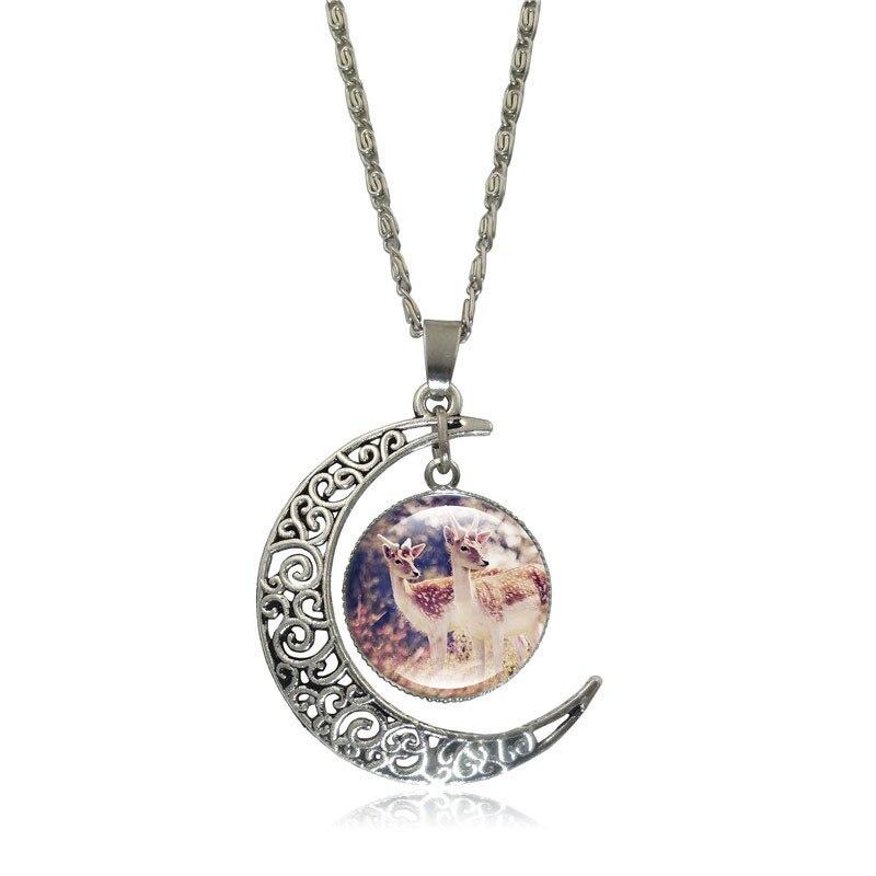 Partyfareast New Elk Time Gem Glass Jewelry Sets Necklace Earrings Bracelet For Women Jewellery Alloy Necklace Set Stud Earrings