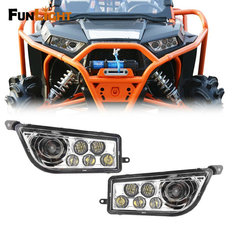 1 Pair Chrome Auto Accessories ATV/UTV LED Headlight kit LED Headlamp For Polaris Razor Push 1000 2014-2016 RZR XP 1000