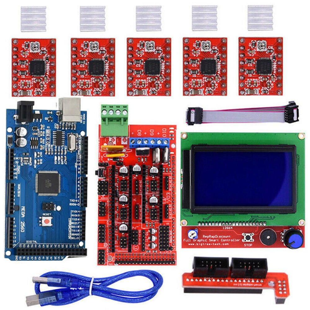New 3D Printer Kits RAMPS 1.4 Mega2560 12864 LCD Controller A4988 For Arduino Reprap