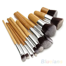 2016 Hot11Pcs Wood Handle Makeup Cosmetic Eyeshadow Foundation Concealer Brush Set brushes 02Q6 2UEV 7CXP 8LUB