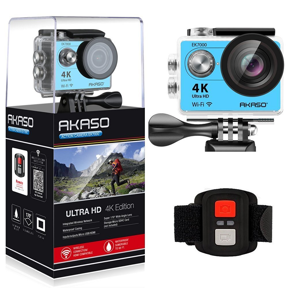 Original 2017 Version AKASO EK7000 4K Action Camera WIFI Ultra HD Waterproof Sports DV Camcorder 12MP 170 Degree Angle original eken action camera eken h9r h9 ultra hd 4k wifi remote control sports video camcorder dvr dv go waterproof pro camera