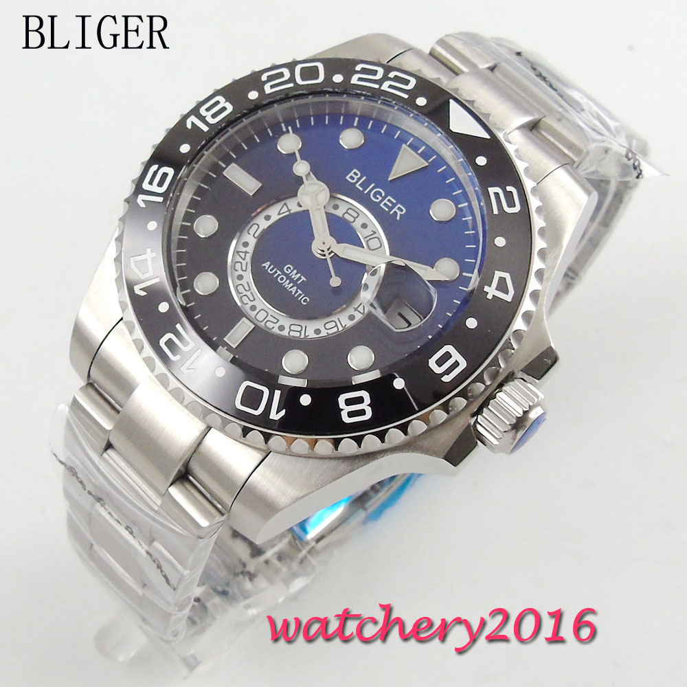 43mm Bliger black blue Dial Stainless Steel Date Adjust GMT Sapphire Glass Luminous Hands Automatic Movement Mens Watch43mm Bliger black blue Dial Stainless Steel Date Adjust GMT Sapphire Glass Luminous Hands Automatic Movement Mens Watch