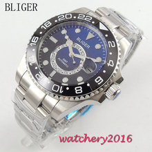 43mm Bliger black blue Dial Stainless Steel Date Adjust GMT Sapphire Glass Luminous Hands Automatic Movement Mens Watch