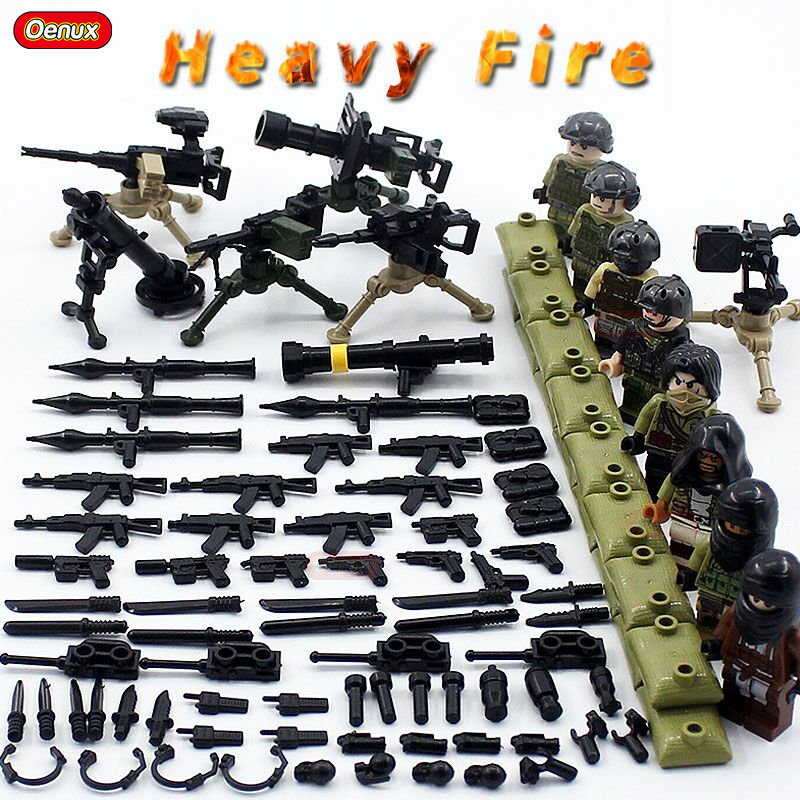 Oenux New Heavy Fire Army Soldier Figures With Weapons Model Military Building Block Modern War Scenes DIY Brick Toy For Kids цена