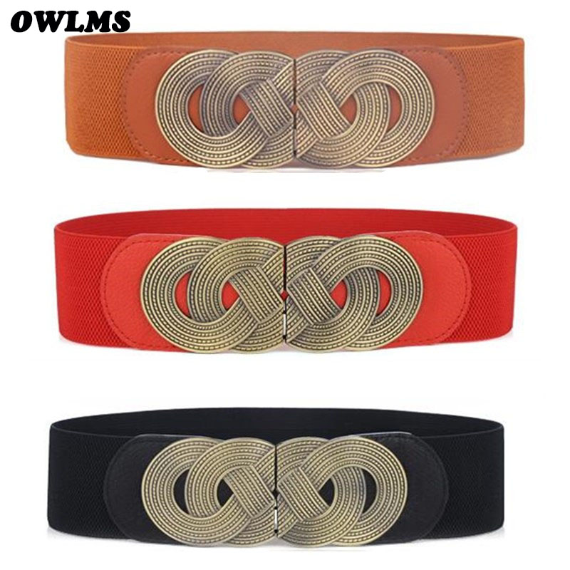 Lady Belts Luxury Wide Elastic Cummerbunds For Women Dress Decorate Belts Vintage Buckle Women's Trendy Design Coat Waist Belt