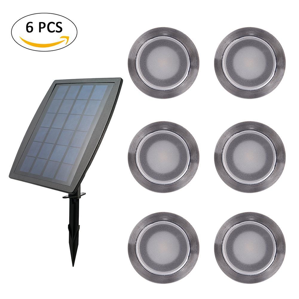 6 pièces acier inoxydable IP67 LED étanche projecteur solaire pont éclairage extérieur paysage jardin cour ampoule LED Kit