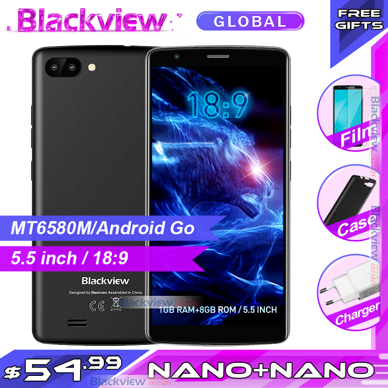 Fast shipping Blackview A20 Smartphones 18 9 5 5 inch Android Go dual Camera 1GB 8GB