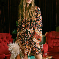 Everkaki Women Boho Dresses Long Sleeve Floral Print Sexy Deep V Neck Kimono Casual Dress Summer 2018 Spell Design Gypsy Dress
