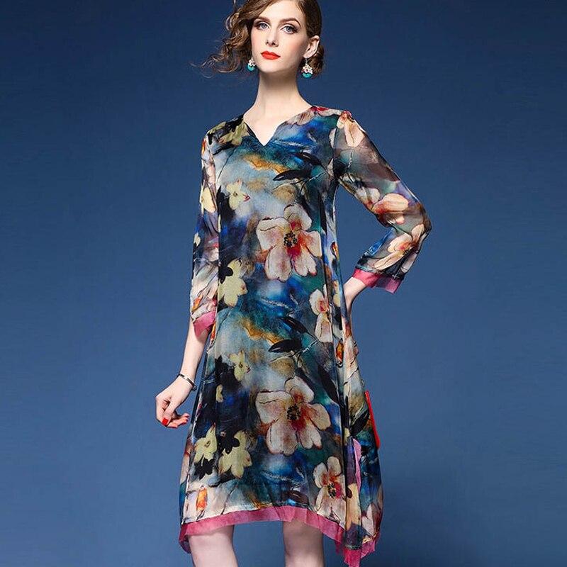 Nouvelles Élégant Color Photo Soie D'été 2017 Irrégulière V Parti Dress Col Mousseline Impression Femmes De pxdnwBqC