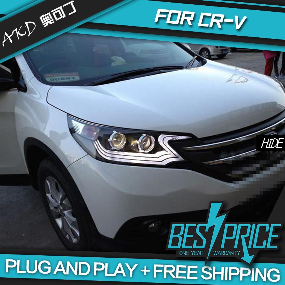 AKD Cars Styling Headlight For Honda CRV CR V 2012 2014 Headlights LED Running lights Bi Xenon Beam Fog lights angel eyes Auto