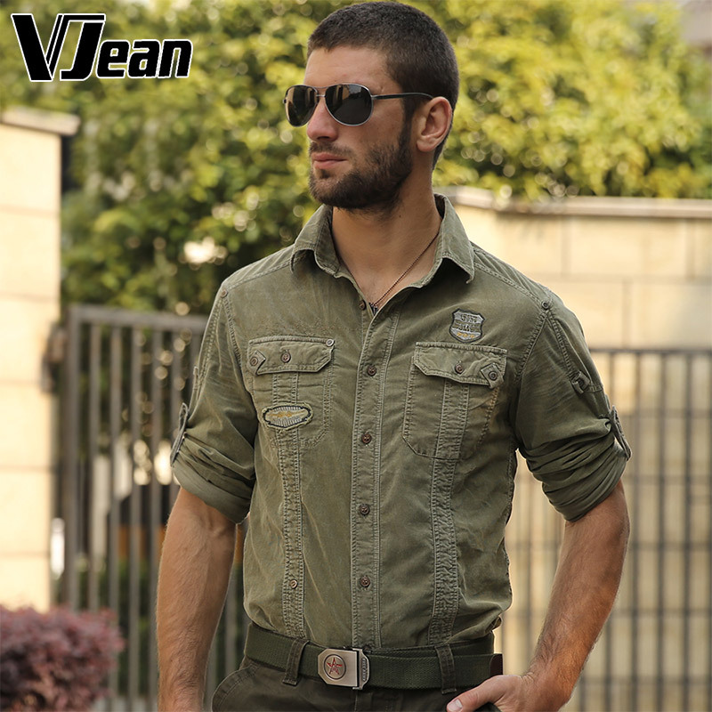 V JEAN font b Men s b font Corduroy Roll UP Sleeve Military font b Shirt