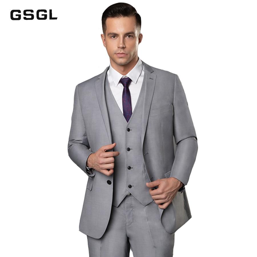 Men's Slim Fit 3 Piece Suit Two Button Blazer Tux Vest & Trousers