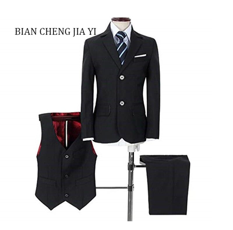 Mode solide noir costumes pour garçons de haute qualité mariage enfants costume smoking robe fête anneau porteur occasions formelles 4 pièces costumes