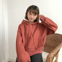 Korean Harajuku Women Casual Hoodies Institute Wind Cute Button Loose Fleece Hoodie Pullover Woman Solid Color