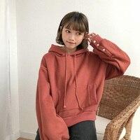 Kore Harajuku Kadın Rahat Hoodies Enstitüsü Rüzgar Sevimli Düğme Gevşek Polar Hoodie Kazak Kadın Düz Renk Tişörtü