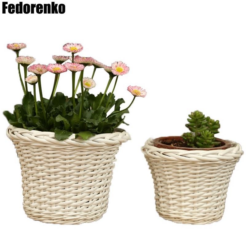 Us 8 9 30 Off Handmade Wicker Storage Basket Straw Rattan Belly Garden Mini Flower Pot Planter Basket Baby Groot Flowerpot Planten Bonsai Pot In
