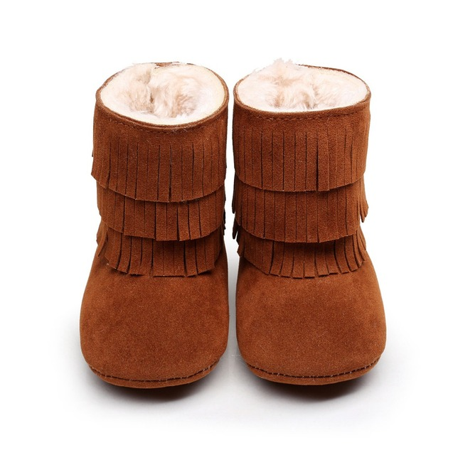 2016 New arrived winter warm fur Pu suede leather 3 layer Tassel moccasins baby Newborn baby boots infant first walkers shoes