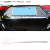 car Stick body styling cover stainless steel Rear door tailgate frame plate trim 1pcs For Toyota Corolla Altis 2017 2018 2019