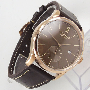 42mm parnis Brown dial Date window Rose Golden Plated Case Roman Numerals ST Automatic movement men's Watch