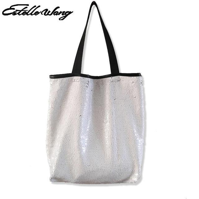 Estelle Wang Casual Tote Women Sequins Shopping Bag Single Large Capacity Shoulder  Bag Beads Ins Super Fire Mermaid Sequins Bags f2a8ff2e208b