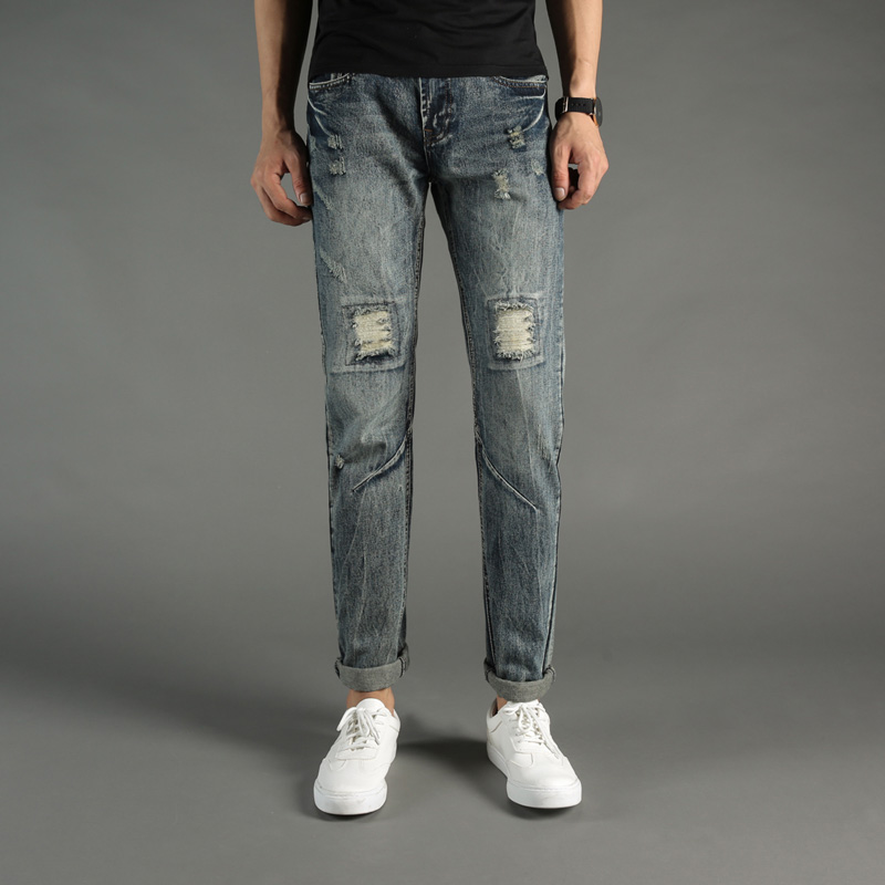 Italian Style Fashion Mens Jeans Knee Frayed Hole Destroyed Ripped Jeans Men Pants Slim Fit Streetwear DSEL Brand Biker Jeans