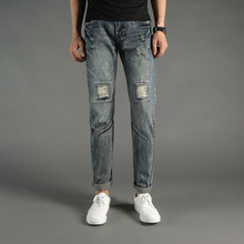 Italian Style Fashion Mens Jeans Knee Frayed Hole Destroyed Ripped Jeans Men Pants Slim Fit Streetwear DSEL Brand Biker Jeans цена 2017