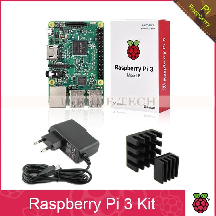 ФОТО Raspberry Pi 3 Model B Board 1GB LPDDR2 Quad-Core+ 5V 2.5A Power Adapter Supply Charger EU AU US UK+Heat Sinks