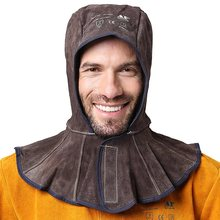 Professional Welding Hood Split Cowhide Leather Welder Hat Cotton Mesh Lining Anti Flame Stitched CE approved Welding Hoods