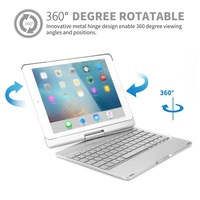 2018 for iPad Keyboard Case, ANIMUSS 7 Colors Adjustment Backlit and Breathing Light Keyboard with 360 Degree Rotatable Cover