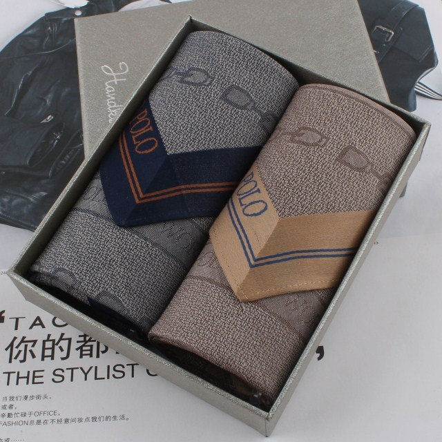 Polo 100% cotton handkerchief 100% male cotton handkerchief gift box set