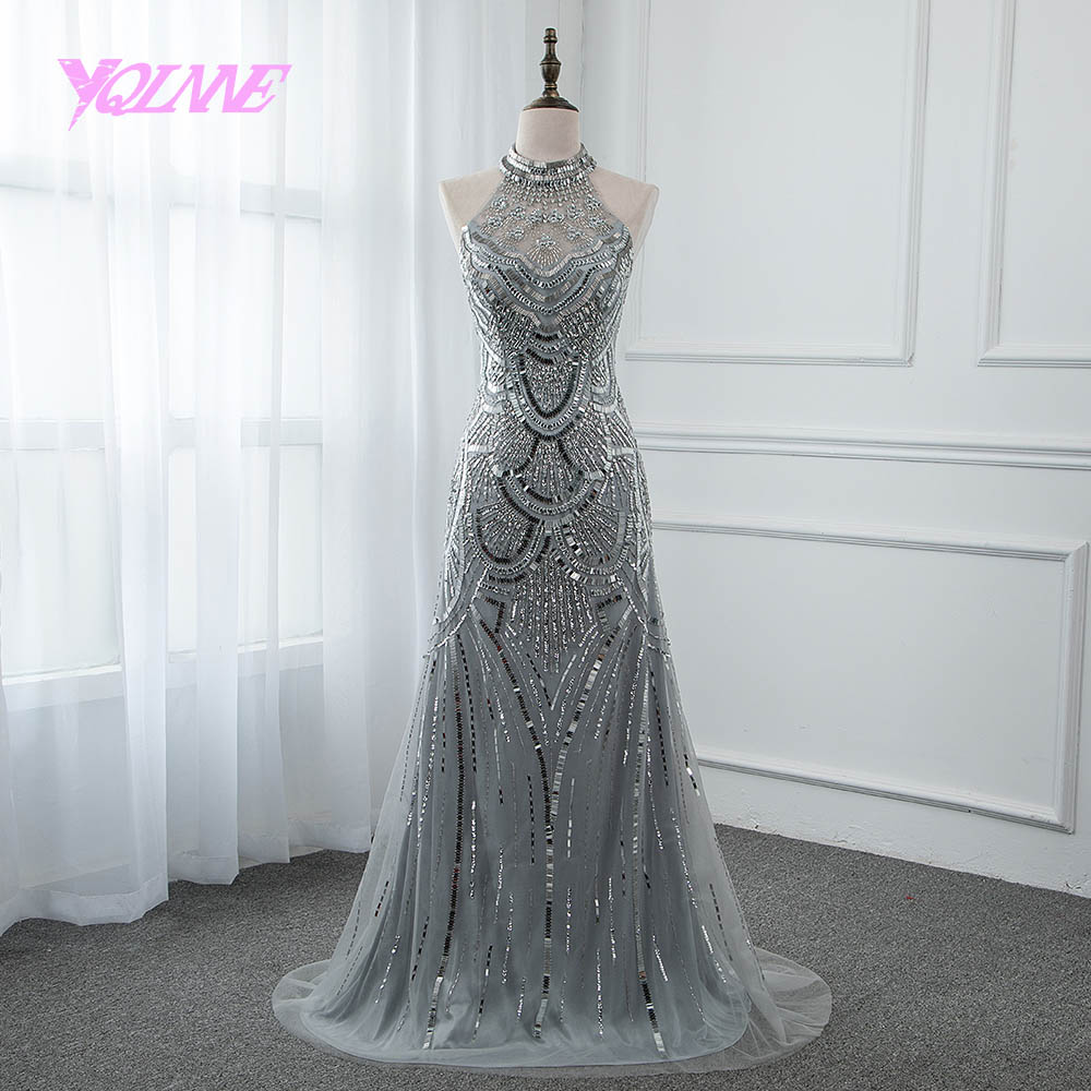 YQLNNE 2018 Gray Rhinestones   Evening     Dress   Trumpet Long Halter Prom Gown Vestido De Festa Pageant   Dresses