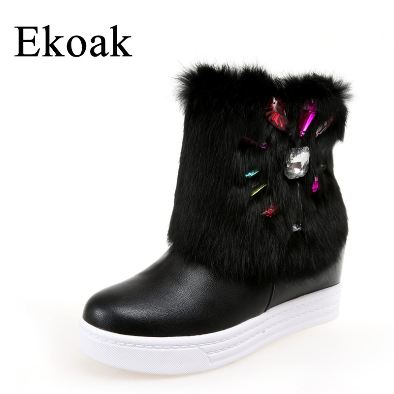 Ekoak New 2017 Fashion Women Boots Winter Warm Ankle Boots Wedges Heels Rhinestone Martin Boots Platform Snow Boots Shoes Woman