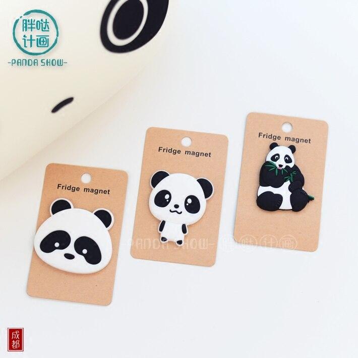 Panda Flexible Glue Refrigerator Stickers Creative Cartoon Magnetic Adornment Lovely Home Accessories Decorative Decorations