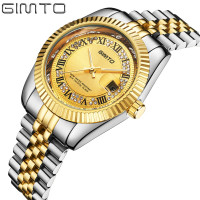 Top Brand Rhinestone Gold Watch GIMTO Golden Luxury Watch Men Stainless Steel Wristwatch Diamond Male Quartz