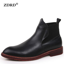 Men Winter Ankle Boots Warm Fur Snow Motocycle Oxfords Male Rubber Leather Chelsea Boots Elastic Band Oxford Men Shoes