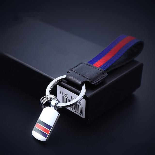 Striped High Quality Head Layer Genuine Leather Keychain