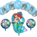 13pcs/lot Transparent wave point + The Little Mermaid foil balloons Ariel of cartoon balloon helium kids birthday decor globos