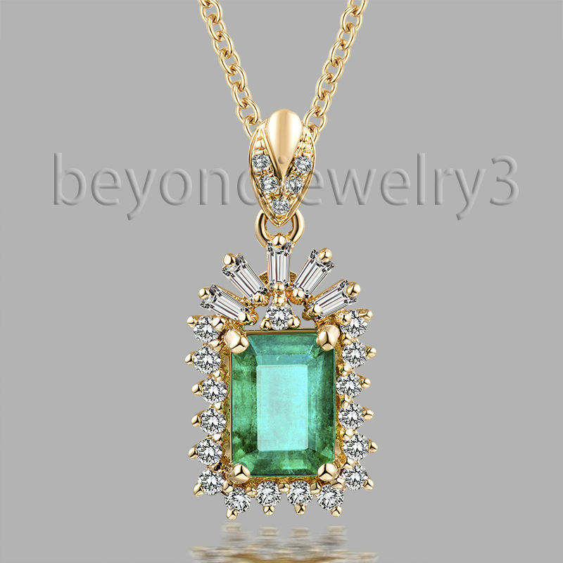 1.0ct Colombian Emerald Pendant Emerald Cut 5x7mm Emerald Diamond Pendants 18k Yellow Gold Gemstone Diamond Jewelry цена