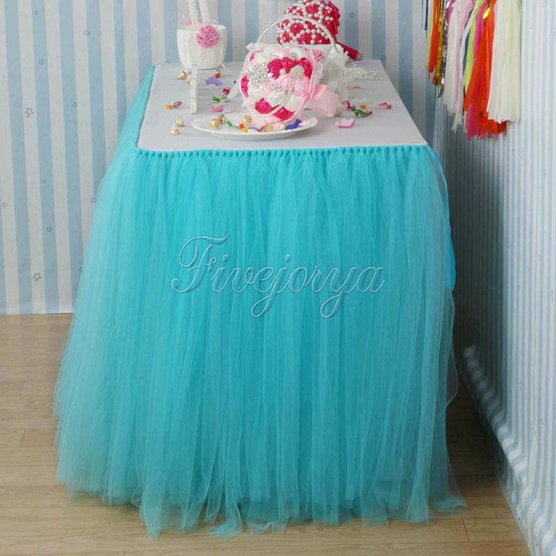 10Pcs/lot Turquoise Tulle Tutu Table Skirts for Wedding Decoration ...